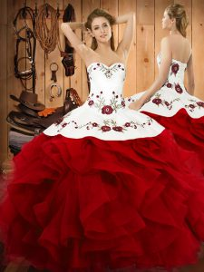 High Quality Floor Length Lace Up Quince Ball Gowns Wine Red for Military Ball and Sweet 16 and Quinceanera with Embroidery and Ruffles