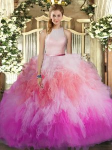 Attractive Multi-color Ball Gowns Tulle High-neck Sleeveless Ruffles Floor Length Backless Quinceanera Dresses