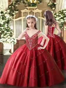 Exquisite Red V-neck Neckline Beading and Appliques Pageant Dress Sleeveless Lace Up