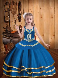 Fashionable Floor Length Blue Winning Pageant Gowns Organza Sleeveless Embroidery and Ruffled Layers