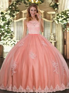 Sleeveless Floor Length Lace and Appliques Clasp Handle Quinceanera Dress with Watermelon Red