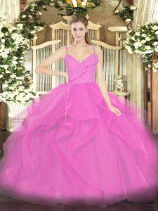 Ruffles Quince Ball Gowns Lilac Zipper Sleeveless Floor Length