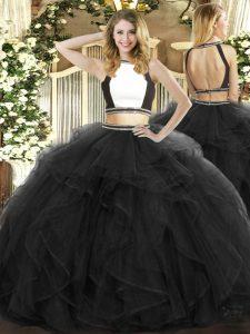 Halter Top Sleeveless 15th Birthday Dress Floor Length Ruffles Black Tulle