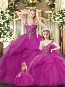 Fancy Sleeveless Organza Floor Length Lace Up Sweet 16 Dress in Fuchsia with Beading and Ruffles