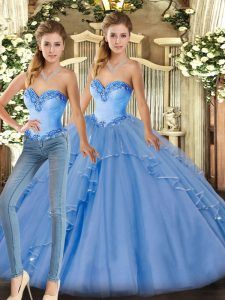 Excellent Baby Blue Sleeveless Organza Lace Up Quinceanera Dresses for Military Ball and Sweet 16 and Quinceanera