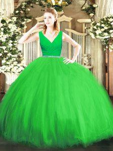 Sexy Ball Gowns V-neck Sleeveless Tulle Floor Length Zipper Beading Sweet 16 Dress