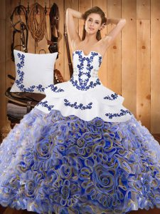 Dazzling Multi-color Ball Gowns Strapless Sleeveless Satin and Fabric With Rolling Flowers With Train Sweep Train Lace Up Embroidery Quinceanera Dress