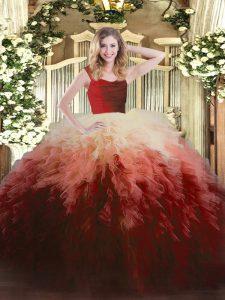 Cheap Floor Length Ball Gowns Sleeveless Multi-color Quinceanera Dresses Zipper