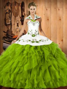 Olive Green Halter Top Neckline Embroidery and Ruffles Quinceanera Dresses Sleeveless Lace Up