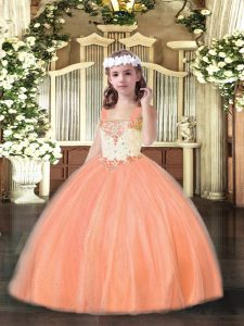Lovely Straps Sleeveless Tulle Little Girl Pageant Dress Beading Lace Up