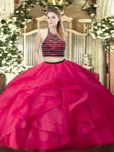 Beading and Ruffles 15th Birthday Dress Hot Pink Zipper Sleeveless Floor Length