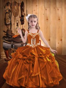 Orange Sleeveless Embroidery and Ruffles Floor Length Pageant Dress Toddler