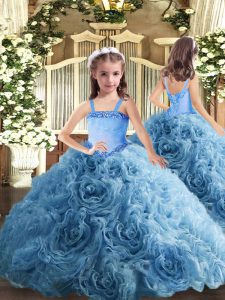 Baby Blue Fabric With Rolling Flowers Lace Up Pageant Dress for Teens Sleeveless Floor Length Appliques