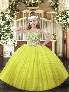 Sleeveless Beading Lace Up Little Girls Pageant Dress Wholesale