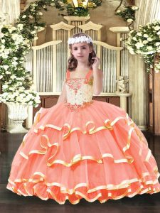 Orange Red Organza Lace Up Pageant Dress for Girls Sleeveless Floor Length Beading and Ruffled Layers