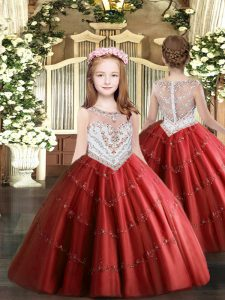 Floor Length Red Pageant Dress Tulle Sleeveless Beading and Appliques