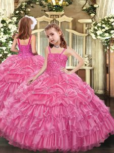 Sleeveless Organza Floor Length Lace Up Little Girl Pageant Gowns in Rose Pink with Beading and Ruffled Layers and Pick Ups