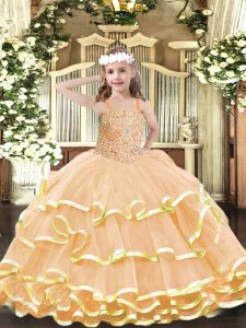 Fashion Floor Length Lace Up Child Pageant Dress Peach for Party and Quinceanera with Beading and Ruffled Layers
