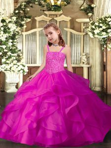 Straps Sleeveless Lace Up Pageant Dress for Teens Fuchsia Organza