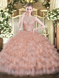 Tulle Scoop Sleeveless Backless Beading and Ruffled Layers Quinceanera Dress in Peach