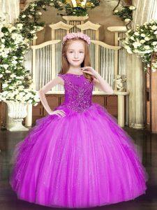Sleeveless Zipper Floor Length Beading and Ruffles Pageant Dress for Womens