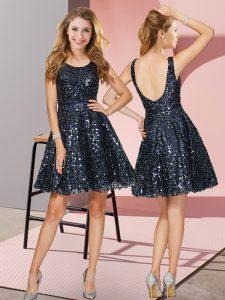 Navy Blue A-line Scoop Sleeveless Sequined Mini Length Zipper Sequins Vestidos de Damas