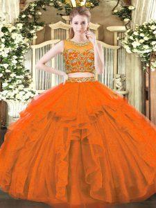 Customized Floor Length Two Pieces Sleeveless Rust Red Sweet 16 Quinceanera Dress Zipper