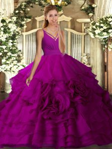 Flirting Fuchsia Ball Gowns Beading and Ruffled Layers Ball Gown Prom Dress Backless Organza Sleeveless Floor Length