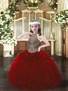 Nice Wine Red Lace Up Halter Top Beading and Ruffles Little Girls Pageant Dress Organza Sleeveless
