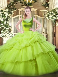 Ball Gowns Organza Scoop Sleeveless Beading and Pick Ups Floor Length Side Zipper Quinceanera Dresses