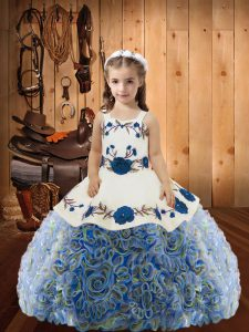 Custom Design Straps Sleeveless Little Girls Pageant Gowns Floor Length Embroidery and Ruffles Multi-color Fabric With Rolling Flowers