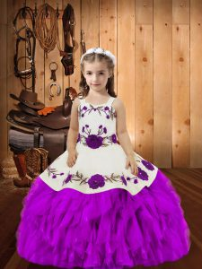 Purple Organza Lace Up Pageant Dress for Teens Sleeveless Floor Length Embroidery and Ruffles