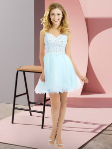 High End Light Blue Sleeveless Mini Length Beading and Lace Side Zipper Quinceanera Court of Honor Dress