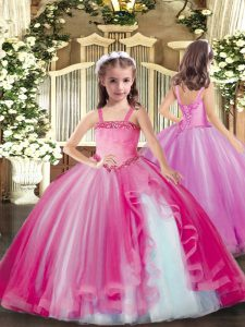 High End Sleeveless Tulle Floor Length Lace Up Little Girls Pageant Gowns in Fuchsia with Appliques
