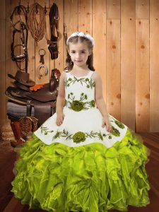 Olive Green Straps Neckline Embroidery and Ruffles Pageant Dresses Sleeveless Lace Up