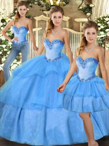 Gorgeous Sweetheart Sleeveless Lace Up Sweet 16 Quinceanera Dress Baby Blue Organza