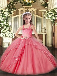 Dramatic Floor Length Lace Up Child Pageant Dress Watermelon Red for Party and Quinceanera with Appliques and Ruffles