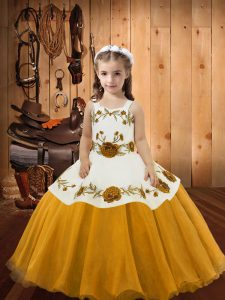 Enchanting Sleeveless Floor Length Embroidery Lace Up Pageant Dress Toddler with Gold