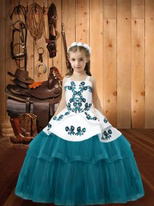 Tulle Straps Sleeveless Lace Up Embroidery Pageant Dresses in Teal