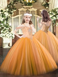 Sleeveless Lace Up Floor Length Beading Little Girl Pageant Gowns
