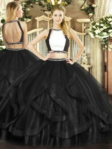 Sumptuous Halter Top Sleeveless Tulle Sweet 16 Dresses Ruffles Backless
