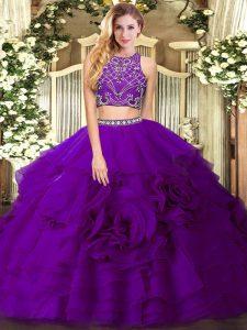 Eggplant Purple Sleeveless Floor Length Beading and Ruffled Layers Zipper Ball Gown Prom Dress