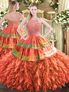 Tulle Sleeveless Floor Length 15th Birthday Dress and Beading and Ruffles and Sequins