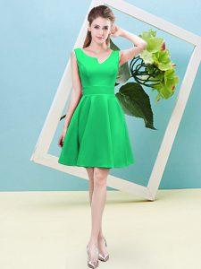 Green Satin Zipper Asymmetric Sleeveless Mini Length Quinceanera Court of Honor Dress Ruching