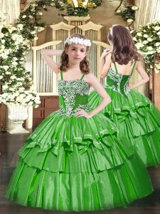 Charming Straps Sleeveless Organza Pageant Dress Toddler Appliques and Ruffled Layers Lace Up