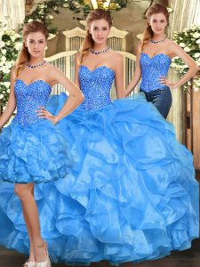 Charming Baby Blue Organza Lace Up Sweet 16 Dress Sleeveless Floor Length Beading and Ruffles