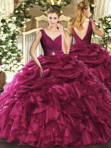 Pretty Burgundy Organza Backless V-neck Sleeveless Floor Length Quinceanera Dress Beading and Ruffles