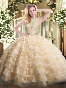 Trendy Champagne Quinceanera Dress Military Ball and Sweet 16 and Quinceanera with Lace and Ruffled Layers Scoop Sleeveless Backless
