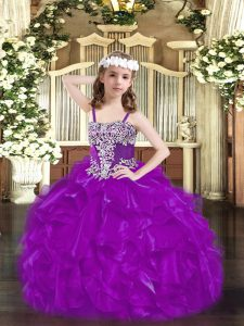 Fashion Purple Lace Up Straps Beading and Ruffles Little Girl Pageant Dress Organza Sleeveless