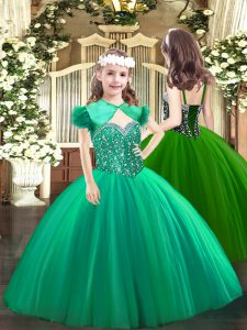 Turquoise Tulle Lace Up Little Girl Pageant Gowns Sleeveless Floor Length Beading